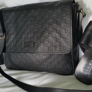 GUCCI black leather bag plus GUCCI sandals size 11